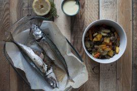 Lanzardo al forno, verdure provenzali e aioli